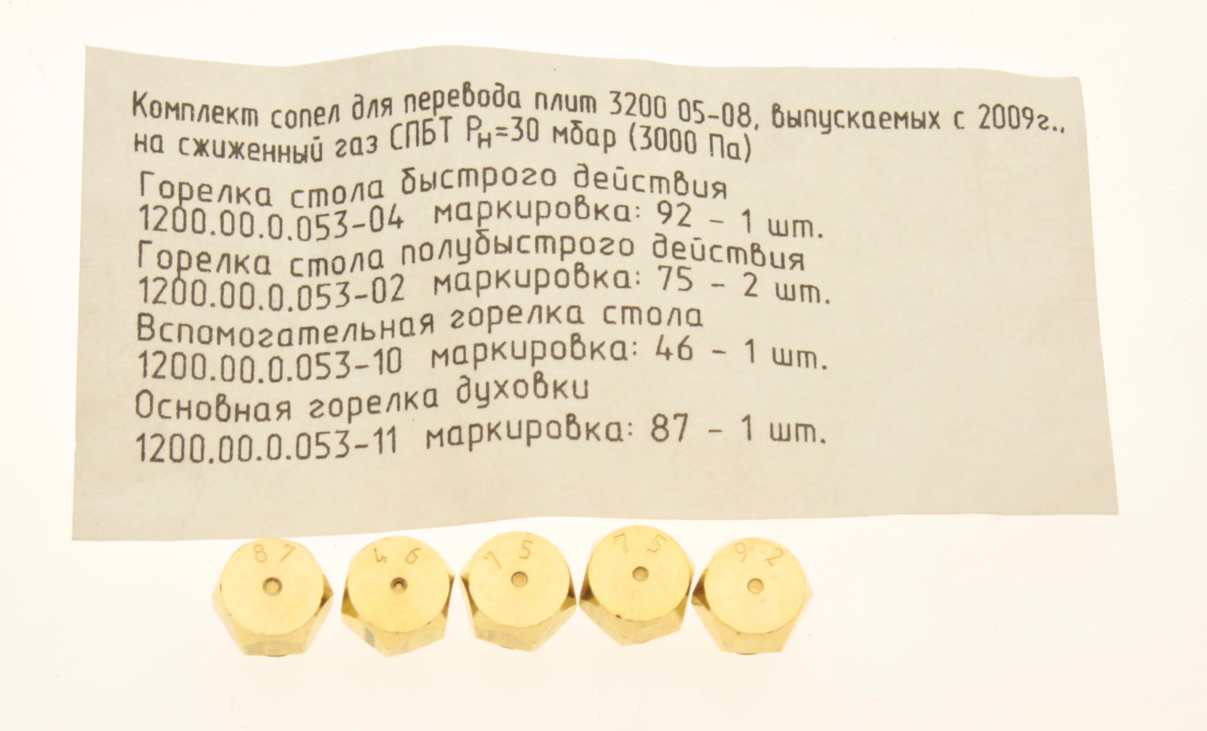 диаметр жиклёров для сжиженного газа
